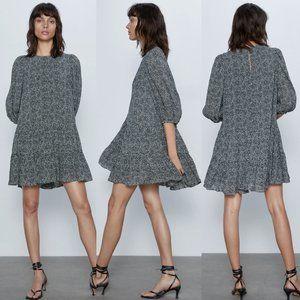 NEW Zara Micro Polka Dot Ruffle Mini Shift Dress